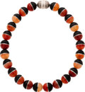 Estate Jewelry:Necklaces, Carnelian, Lava, Sterling Silver Necklace. ...