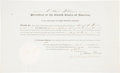 """Autographs:U.S. Presidents, Millard Fillmore Document Signed as president. One page, 16"""" x 9,75"""", """"City of Washington,"""" October 10, 1851, countersig..."""