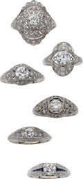 Estate Jewelry:Suites, Art Deco Diamond, Platinum Rings. ... (Total: 6 Items)