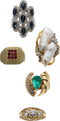 Estate Jewelry:Suites, Diamond, Ruby, Sapphire, Emerald, Pearl, Gold Rings. ... (Total: 6 Items)