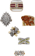 Estate Jewelry:Suites, Colored Diamond, Diamond, Ruby, Orange Garnet, Gold Rings. ...(Total: 6 Items)