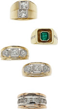 Estate Jewelry:Suites, Gentleman's Diamond, Emerald, Gold Rings. ... (Total: 5 Items)