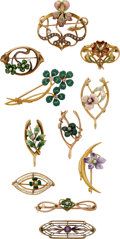 Estate Jewelry:Suites, Amethyst, Diamond, Enamel, Gold Brooches, Early 20th century. ...
