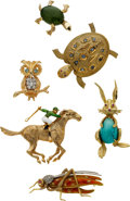 Estate Jewelry:Suites, Diamond, Colored Diamond, Jade, Sapphire, Enamel, Gold Brooches.... (Total: 6 Items)