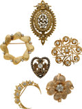 Estate Jewelry:Lots, Diamond, Seed Pearl, Gold Pendant-Brooches. ... (Total: 6 Items)