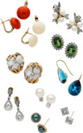 Estate Jewelry:Suites, Diamond, Multi-Stone, Gold Earrings. ... (Total: 10 Items)