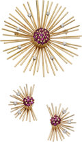 Estate Jewelry:Suites, Retro Diamond, Ruby, Gold Jewelry Suite. ...