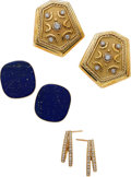Estate Jewelry:Lots, Diamond, Lapis Lazuli, Gold Earrings. ... (Total: 6 Items)
