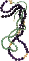 Estate Jewelry:Lots, Amethyst, Nephrite, Gold Necklaces. ... (Total: 2 Items)