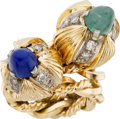 Estate Jewelry:Rings, Diamond, Emerald, Lapis Lazuli, Gold Ring. ...