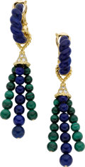 Estate Jewelry:Earrings, Diamond, Lapis Lazuli, Malachite, Gold Earrings, Neiman Marcus . ...