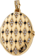 Estate Jewelry:Pendants and Lockets, Diamond, Sapphire, Gold Locket-Enhancer. ...