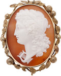 Estate Jewelry:Cameos, Victorian Shell Cameo, Gold Pendant-Brooch. ...