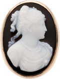 Estate Jewelry:Cameos, Hardstone Cameo, Gold Ring. ...