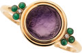 Estate Jewelry:Bracelets, Amethyst Cameo, Emerald, Diamond, Gold Bracelet. ...