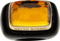 Citrine, Wood, Gold Ring, Bruni Bossio