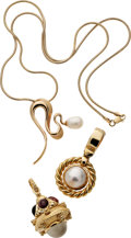 Estate Jewelry:Suites, Multi-Stone, Mabe Pearl, Gold Pendant-Necklaces. ... (Total: 3Items)