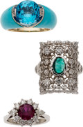 Estate Jewelry:Rings, Diamond, Ruby, Emerald, Turquoise, Gold Rings. ... (Total: 3 Items)