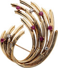 Estate Jewelry:Brooches - Pins, Diamond, Ruby, Gold Brooch. ...