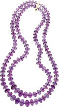 Estate Jewelry:Necklaces, Amethyst, Gold Bead Necklace. ...