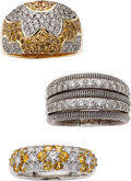 Estate Jewelry:Suites, Diamond, Yellow Sapphire, Platinum, Gold Rings. ... (Total: 3Items)