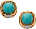 Estate Jewelry:Earrings, Turquoise, Diamond, Gold Earrings. ... (Total: 4 Items)