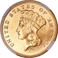 Three Dollar Gold Pieces, 1886 $3 MS62 Deep Prooflike NGC....