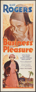 "Movie Posters:Comedy, Business and Pleasure (Fox, 1931). Insert (14"" X 36""). Comedy.. ..."