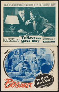 "To Have and Have Not (Warner Brothers, 1944 and R-1952). Lobby Cards (2) (11"" X 14""). Romance. ... (Total: 2 I..."