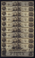 Obsoletes By State:Massachusetts, Boston, MA- Cochituate Bank $50 Nov. 12, 1853 G14 Nine Examples.... (Total: 9 notes)