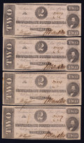 Confederate Notes:Group Lots, T54 $2 1862 Two Consecutive Pairs.. ... (Total: 4 notes)