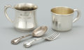 Silver & Vertu:Hollowware, A FIVE PIECE AMERICAN SILVER BABY FLATWARE AND CUPS GROUP . Gorham Manufacturing Co., Providence, Rhode Island, circa 1950. ... (Total: 5 Items)