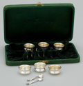Silver Holloware, American:Open Salts, A SET OF SIX AMERICAN SILVER AND SILVER GILT OPEN SALTS AND SALTSPOONS IN FITTED BOX . Watson Company, Attleboro, Massachus...(Total: 13 Items)