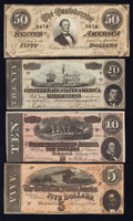 Confederate Notes:Group Lots, High Grade 1864 Confederate Group Lot. . ... (Total: 4 notes)
