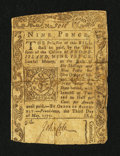 Colonial Notes:Rhode Island, Rhode Island May 3, 1775 9d Very Good, Repaired.. ...