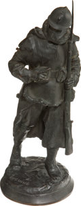 Military & Patriotic:WWI, Paul Ducuing: Bronze Sculpture of a World War I French PoiluPreparing to Fire, c. 1916....