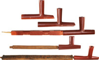 A GROUP OF FIVE SIOUX CATLINITE PIPE BOWLS AND PIPES c. 1890 and 1900