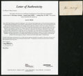 Boxing Collectibles:Autographs, Circa 1860 John Morrissey Signed Cut Signature. ...