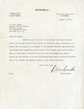 Baseball Collectibles:Others, 1943 Kenesaw Mountain Landis Signed Typed Letter. ...