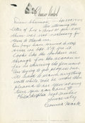 Baseball Collectibles:Others, 1944 Connie Mack Hand Written, Signed Letter, With BaseballContent!...