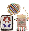 American Indian Art:Beadwork and Quillwork, A GROUP OF THREE PLAINS AND GREAT LAKES BEADED ITEMS. c. 1890 and1900...