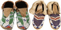TWO PAIRS OF PLAINS BEADED HIDE MOCCASINS c. 1900