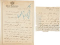 Baseball Collectibles:Others, 1910-18 Chief Meyers Handwritten Signed Letters Lot of 3....