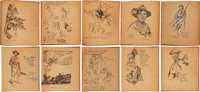"""Cyrus LeRoy Baldridge: Original Artwork for """"I Was There"""": With the Yanks in France, Sketches Made on the West..."""