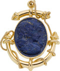 Estate Jewelry:Cameos, Lapis Cameo, Gold Pendant-Brooch. ...