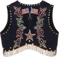 American Indian Art:Beadwork and Quillwork, A WESTERN GREAT LAKES MAN'S BEADED CLOTH VEST. c. 1910 . ...