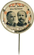 """Political:Pinback Buttons (1896-present), McKinley & Hobart: A Highly Unusual 1"""" Jugate Pinback From the 1896 Campaign. A cardboard disc bearing portraits and wording..."""