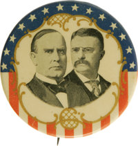 """McKinley & Roosevelt: A Dramatic Red, White, Blue, and Gold 2 1/8"""" Jugate Pinback in Choice Condition. This bea..."""