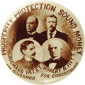 "Political:Pinback Buttons (1896-present), McKinley & Roosevelt: A Rare 1¼"" Illinois Quadragate. Thissuperb sepia-toned design pictures the presidential ticket for19..."