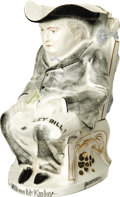 """Political:3D & Other Display (pre-1896), William McKinley Ceramic Toby Mug. This one honors McKinley, as he sits on a throne holding a stack of money and a """"McKinley..."""